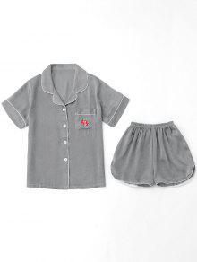 Ensemble Vêtement à La Maison Chemise Brodée Et Short - Gris Xl