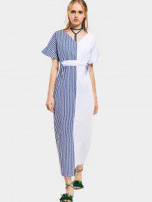 Vestido Longo Contraste Em Listras  - Azul E Branco L