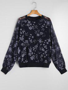 Durchsichtiges Chiffon Sweatshirt Mit Blumen - Blumen L