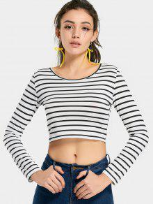 Camiseta De Costura Rayada De Cuello Redondo - Raya Xl