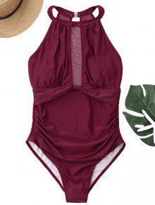 لباس سباحة عالي الرقبة من قطعة واحدة بتداخل شبك - نبيذ أحمر Xl