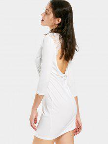 Mini Vestido Sin Espalda Del Panel Del Cordón - Blanco M