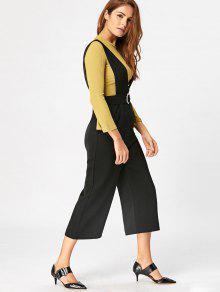 weites bein capri jumpsuit schwarz jumpsuits s zaful. Black Bedroom Furniture Sets. Home Design Ideas