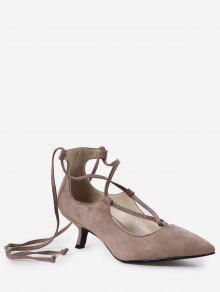 حذاء بأربطة مشبكة ذو كعب قصير - عارية الوردي 39