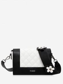 زهرة مبطن كتلة اللون حقيبة كروسبودي - أسود