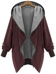 معطف بقلنسوة الحجم الكبير بسحاب - نبيذ أحمر 2xl