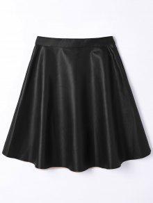 Jupe Taille Haute A Line En Cuir PU - Noir M