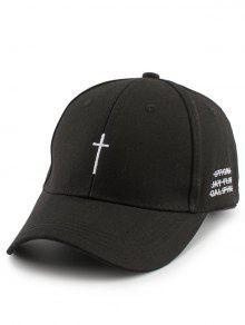 صغير الصليب التطريز قبعة بيسبول مع الذيل - أسود