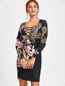 e200062060 21% OFF  2019 Long Sleeve Criss Cross Printed Bodycon Dress In BLACK ...
