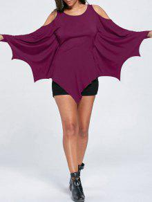 T-shirt Épaules Nues Halloween Chauve-souris - Violet Rose M