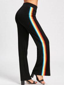 Pantalones Rayados Palazzo - Negro 2xl