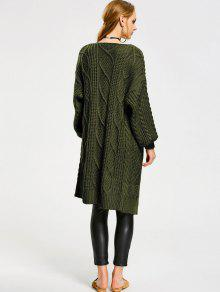 Loose Cable Knit Open Front Cardigan ARMY GREEN: Sweaters ONE SIZE ...
