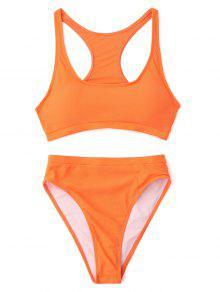21d3badf78262 23% OFF  2019 High Cut Racerback Sporty Bikini In ORANGE M