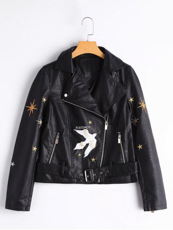 online Bird Patched Asymmetric Zipper Faux Leather Jacket - BLACK XL