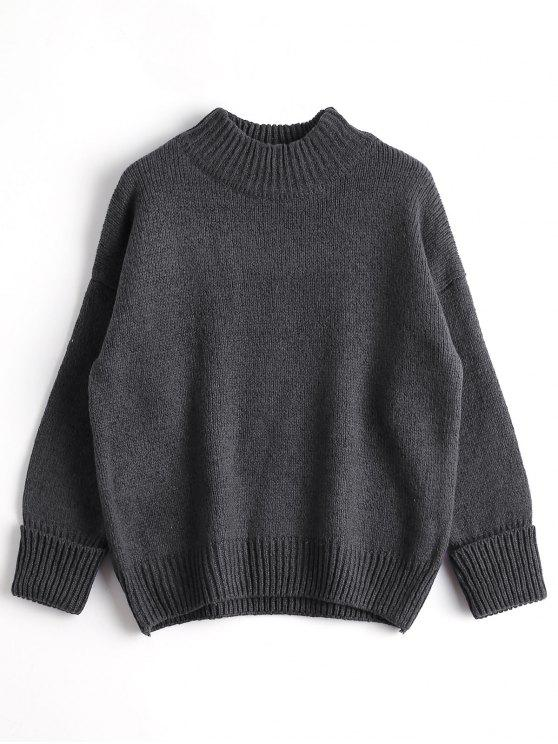 outfit Loose Heathered Mock Neck Sweater - DEEP GRAY ONE SIZE