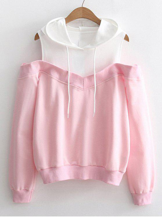 trendy Two Tone Cold Shoulder Hoodie - PINK ONE SIZE