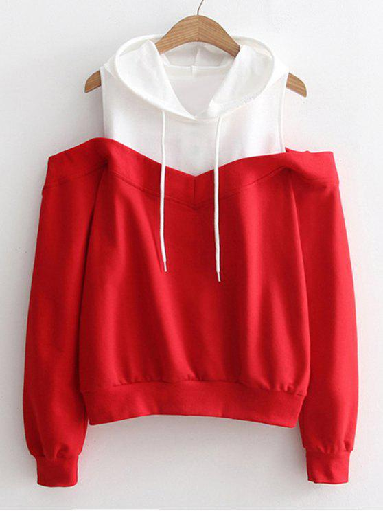 affordable Two Tone Cold Shoulder Hoodie - RED ONE SIZE