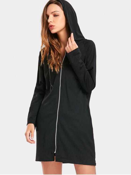 outfit Zip Up Drawstring Longline Hoodie - BLACK XL