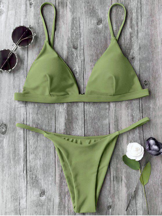 ladies Spaghetti Straps Plunge Thong Bikini Set - GRASS GREEN S