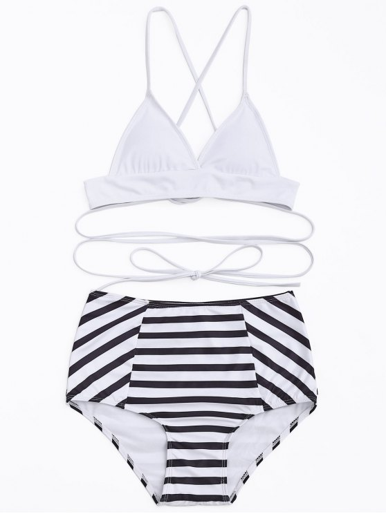 buy High Waisted Stripe Bikini Set - WHITE AND BLACK S