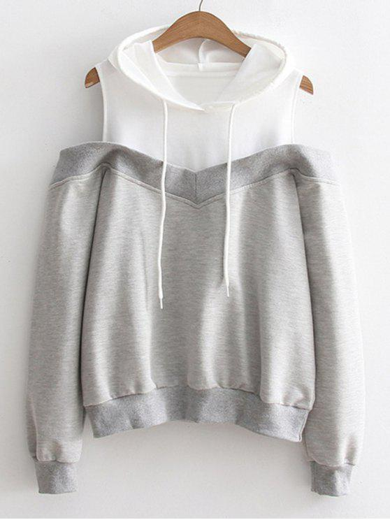womens Two Tone Cold Shoulder Hoodie - GRAY ONE SIZE