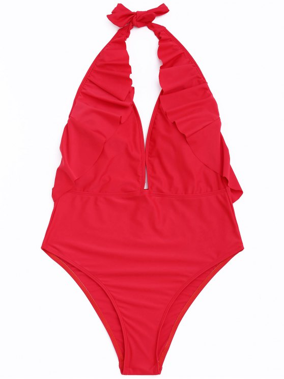 chic Frilled Halter One Piece Swimsuit - RED S