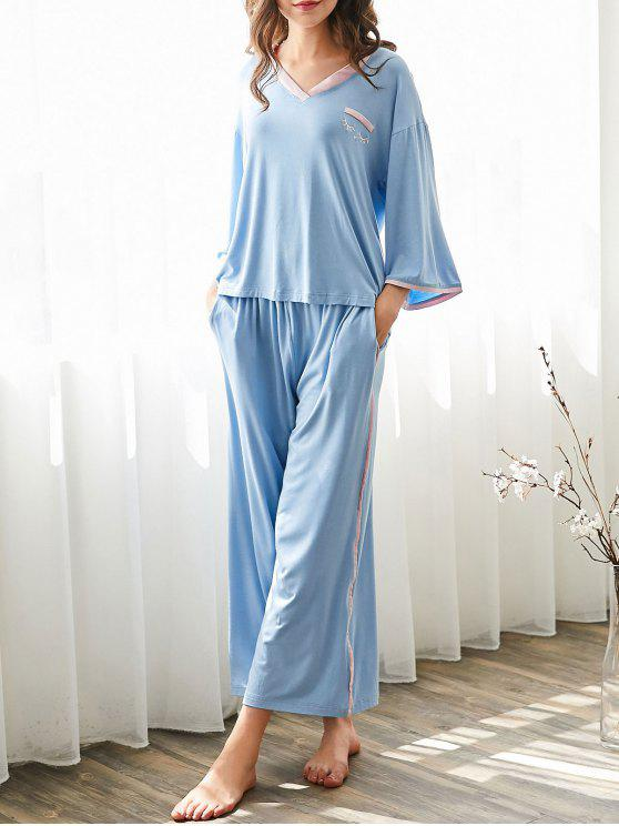 ladies Cosy Loungewear High Low T-shirt with Pants - LIGHT BLUE S