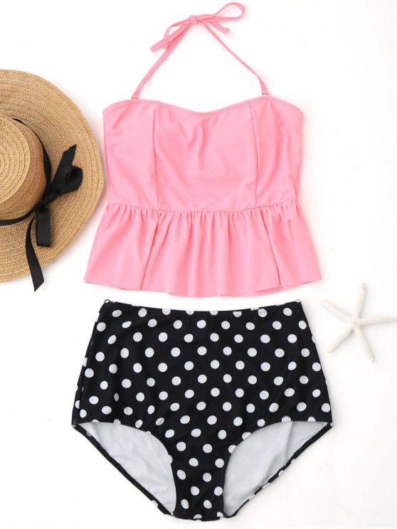 fashion Polka Dot Peplum High Waisted Tankini Set - PINK XL