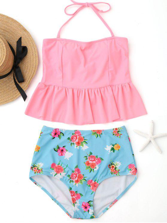 women Ruffles Floral Peplum High Waisted Tankini Set - PINK XL