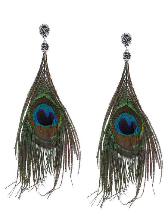 Declaração de strass Brincos de penas de pavão - Verde