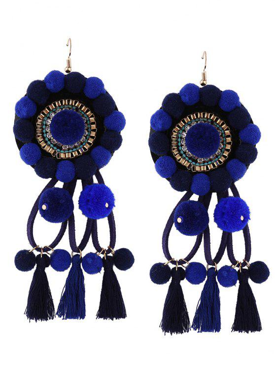 best Rhinestone Tassel Floral Fuzzy Ball Earrings - BLUE