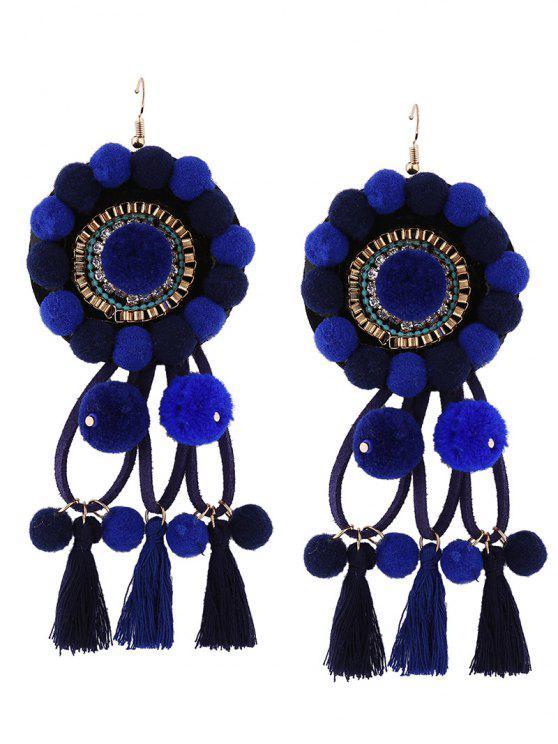 حجر الراين شرابة الأزهار الكرة الضبابي الأقراط - أزرق