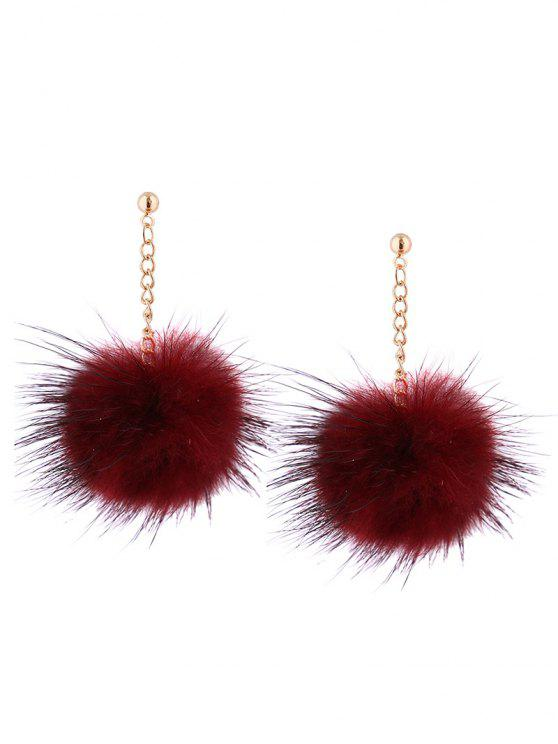 Fuzzy Ball Chain Drop Ohrringe - Weinrot