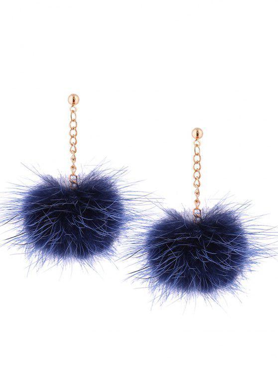 Brincos de Correntes com Bolas Felpudas - Azul Marinho