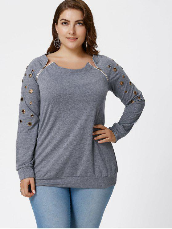 Übergröße Sweatshirt mit Grommet Detail - Grau 3XL