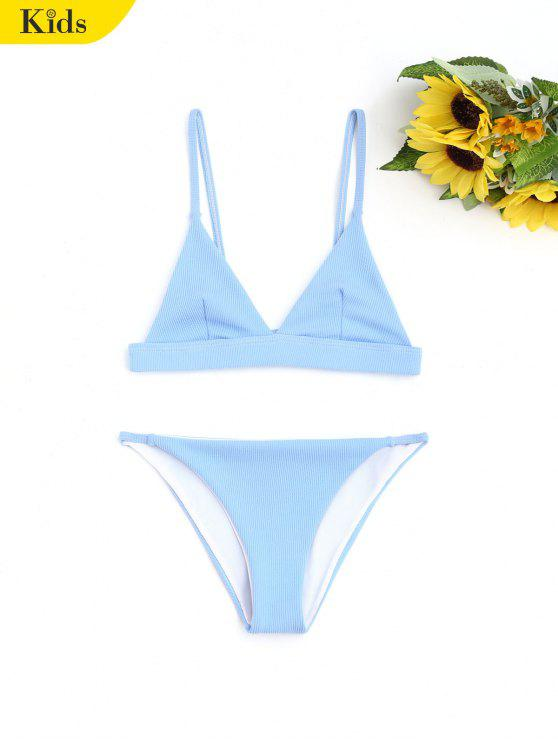 Cami Ribbed Textura Niños Bikini - Azul 4T