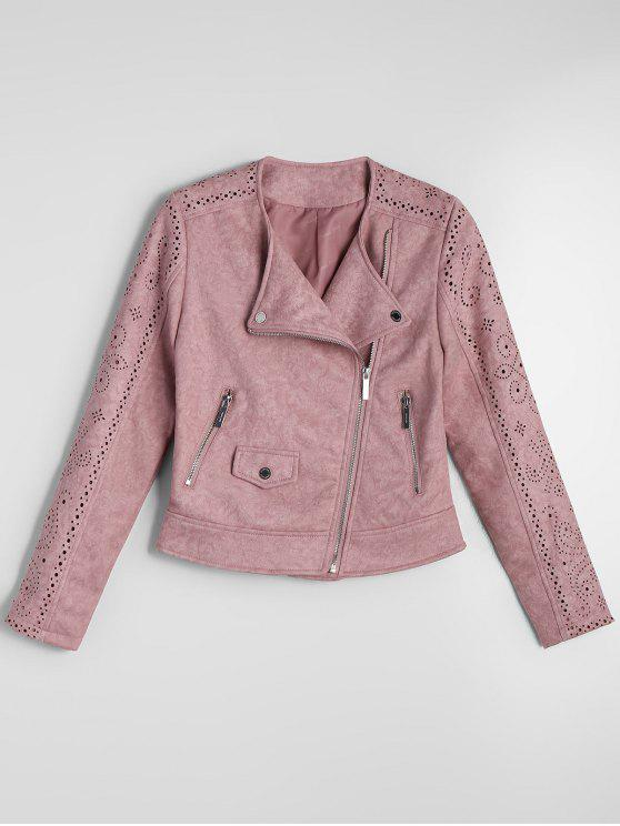 chic Cropped Zip Up Fuax Suede Jacket - PINK XL