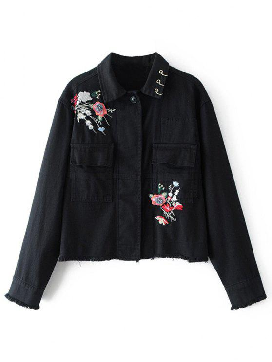 best Beaded Floral Embroidered Denim Jacket - BLACK L