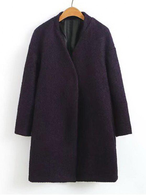Snap Button Wolle Blend Coat - Lila L