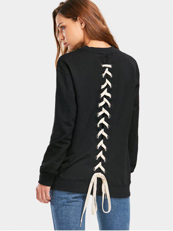 women Back Lace Up Longline weatshirt - BLACK L