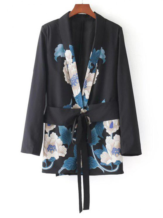 womens Metallic Ring Floral Belted Blazer - FLORAL M