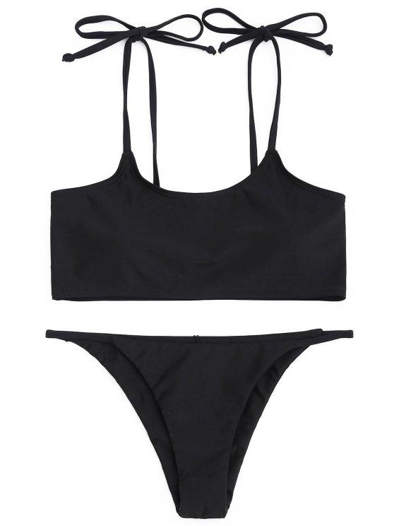 Niedrige Taille Bikini-Set - Schwarz L