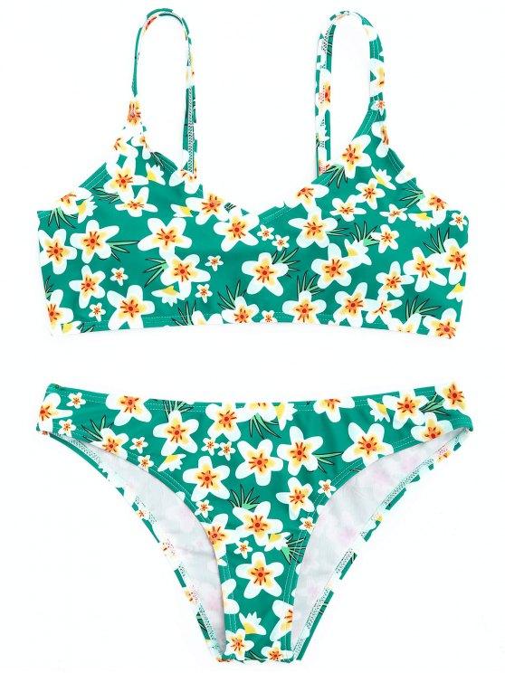 GepolstertBlumen Bikini Set - Grün S