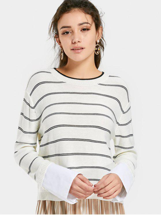 fashion Striped Sweater with Shirt Sleeve Panel - WHITE S
