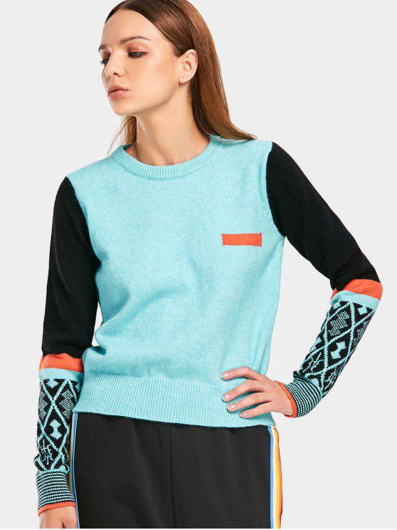 outfits Contrast Geometric Graphic Sweater - LIGHT BLUE ONE SIZE