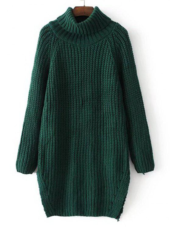 chic Side Slit Turtleneck Chunky Sweater - GREEN ONE SIZE