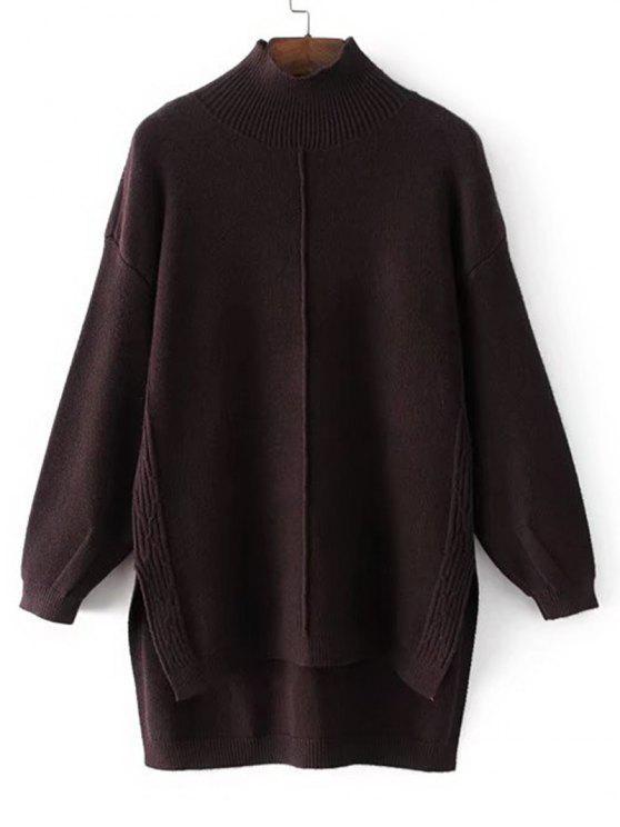 Langer Hoher Niedriger Pullover mit Mock Neck - Kafee Eine Größe