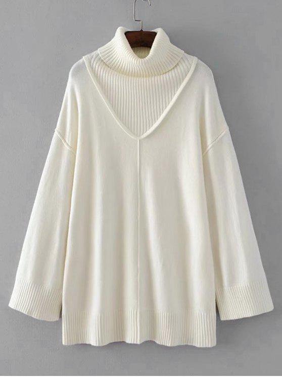 Long Drop Shoulder Turtleneck Sweater - Branco Um Tamanho