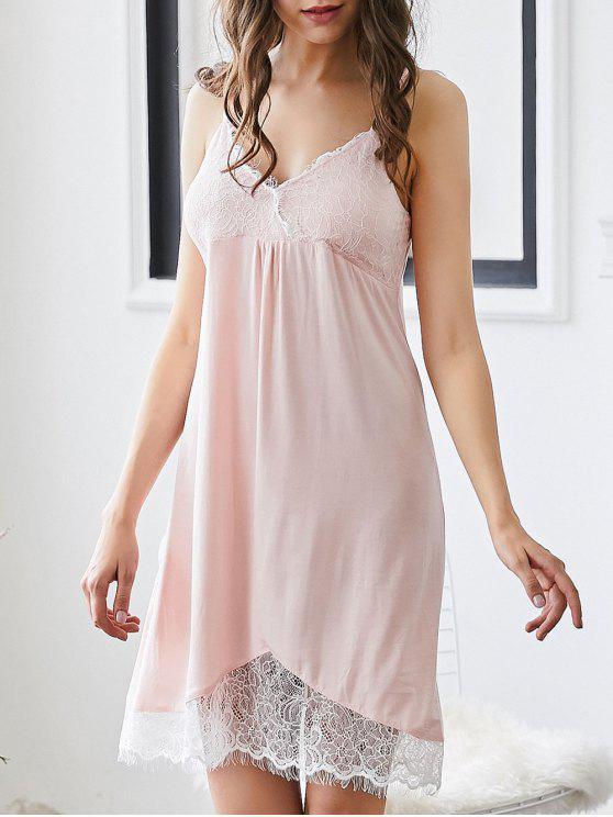 Lace Trim gepolstertes Cami Sleepwear Kleid - Pink M