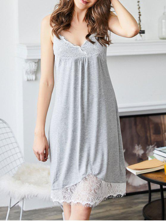 Lace Trim gepolstertes Cami Sleepwear Kleid - Grau M